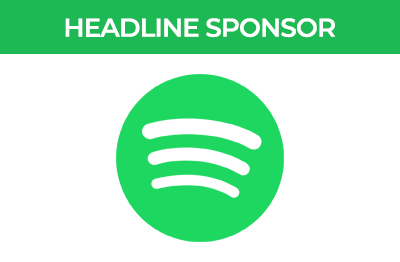 Pods Up North Headline Sponsor, Spotify green icon on white background.